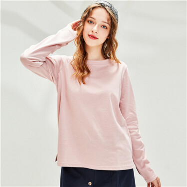 Plain Crew Neck Long-sleeves Tee