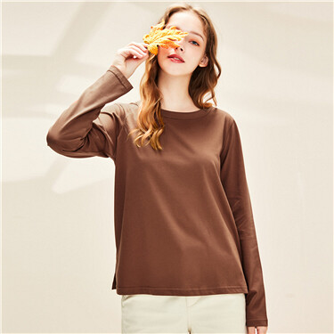 Pure cotton solid color round neck long sleeve T-shirt