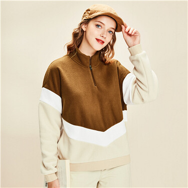 Contrast Polar Fleece Sweatshirt