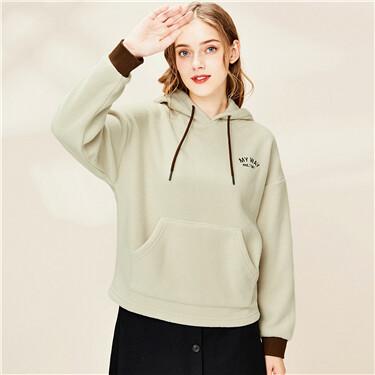Embroidered polar fleece hoodie