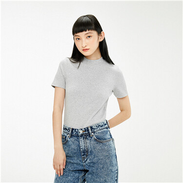 Ribbed mockneck stretchy slim tee