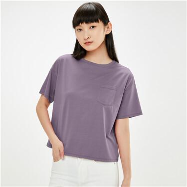 纯棉双面布宽松落肩口袋圆领短袖T恤