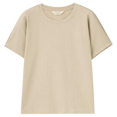 女裝坑條紋淨色短袖T恤