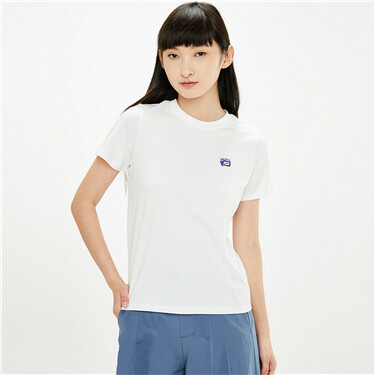 Embroidery crewneck short sleeves tee