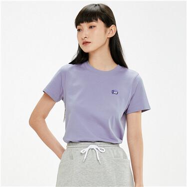 纯棉小刺绣圆领短袖T恤