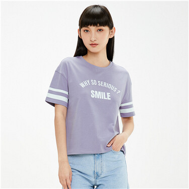 Printed letter dropped-shoulder t-shirt