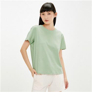 【網上獨家】女裝雙面針織淨色短袖T恤