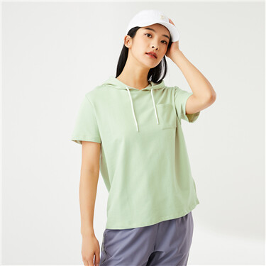 Contrast color ribbon short sleeves hoodie