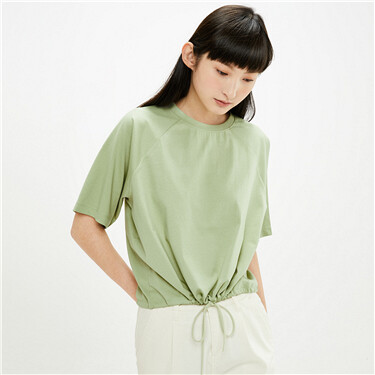 Drawstring hem raglan sleeves loose tee