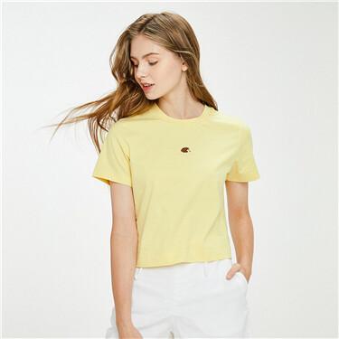 小动物刺绣纯棉圆领短袖T恤