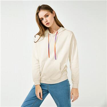 Contrast drawstring kanga pocket hoodie
