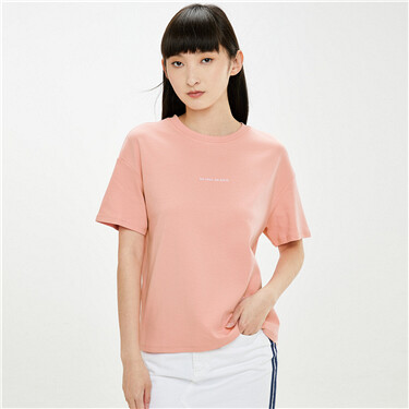 Embroidery interlock crewneck short sleeves tee