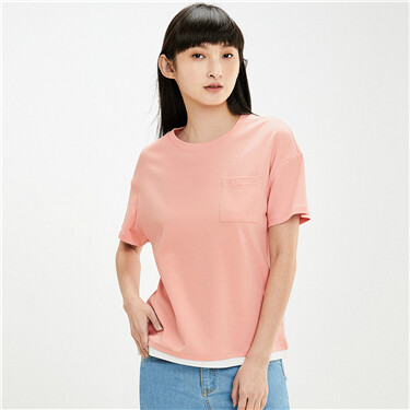 Fake-2 piece loose crewneck tee