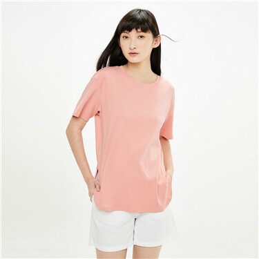 Curved hem long loose crewneck t-shirt