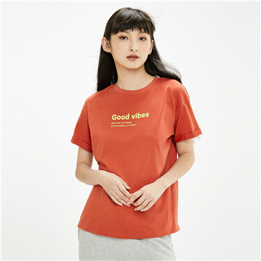 Printed letter loose short-sleeve tee