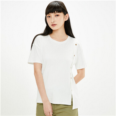 Decorative button front t-shirt