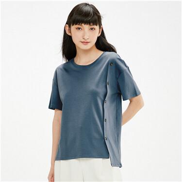 Decorative button front t-shirt