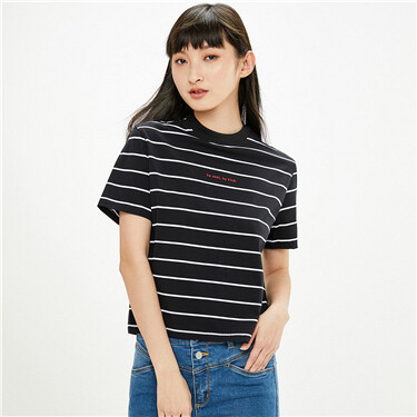Embroidered letter stripe crewneck short sleeves tee