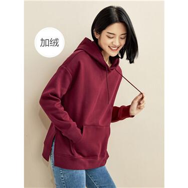 Fleece-lined loose kanga pocket hoodie