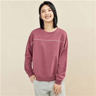 Contrast dropped-shoulder crewneck sweatshirt