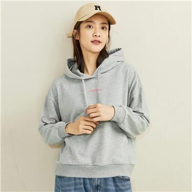 Printed letter dropped-shoulder hoodie