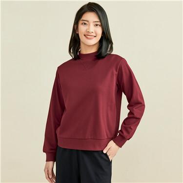 Solid color loose mockneck sweatshirt