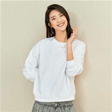 Loose solid color crewneck sweatshirt