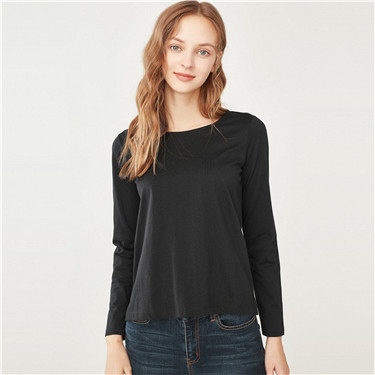 Solid long sleeve basic tee