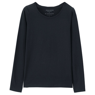 Women Solid Long Sleeve Basic Tee