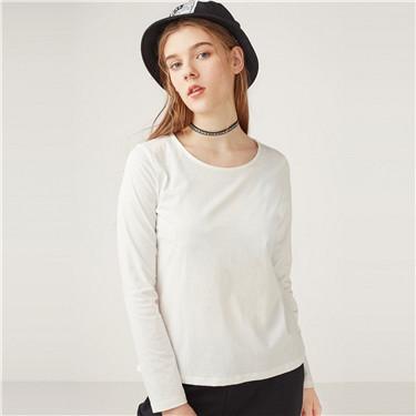 简约素色纯棉圆领长袖T恤