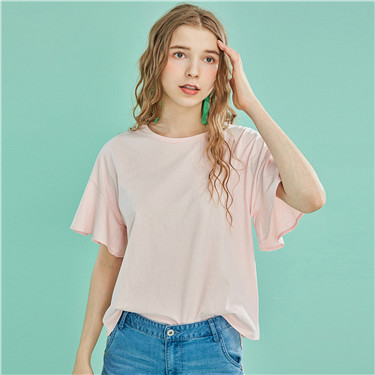 Loose crewneck butterfly-sleeve tee