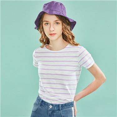 圆领竹节棉短袖T恤
