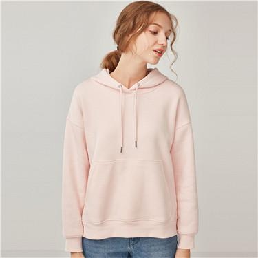 Fleeced-lining loose hoodie
