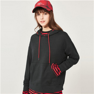 Contrast color drawstring kanga pocket hoodie
