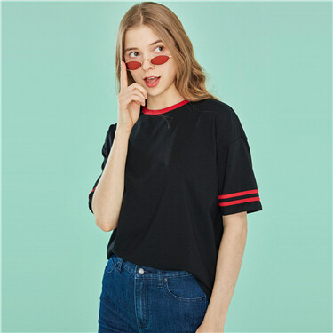 Contrast loose short-sleeve tee