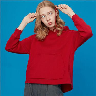 Fleece-lining loose hoodie