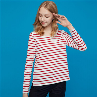 Striped v-neck long-sleeve cotton tee
