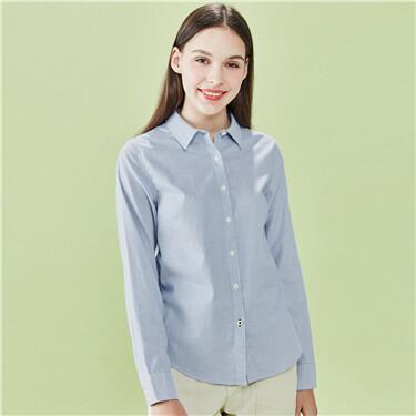 女裝簡約純棉修身長袖襯衫