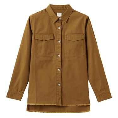 Faux denim rough edge at hem jacket