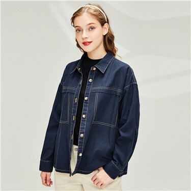 Loose cotton casual denim shirt