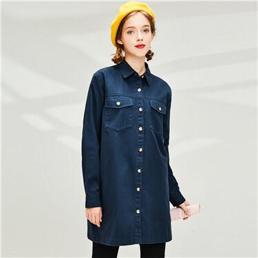 Mid-long cotton denim shirt