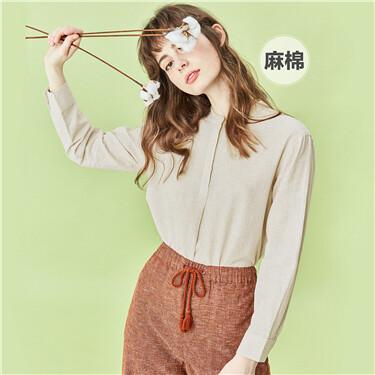 Linen-cotton stand collar half placket shirt