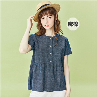 Linen-cotton lotus hem half placket shirt