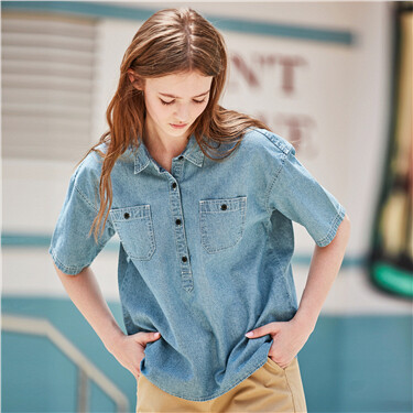 Faux denim pocket short sleeve shirt