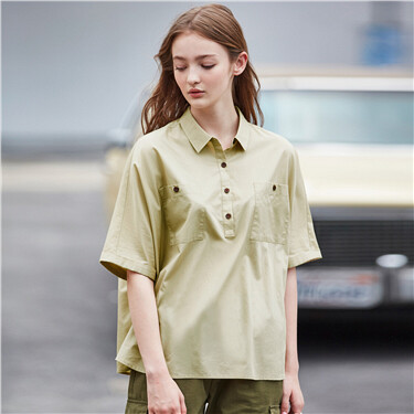 Cargo loose button pockets short sleeves shirt