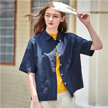 Cargo loose pockets short sleeves shirt