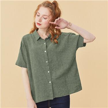 Linen-cotton loose short-sleeve shirt