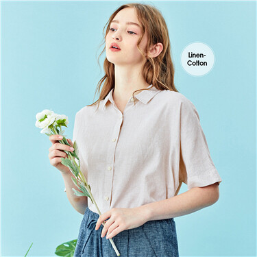 Linen-cotton loose short-sleeve shirt