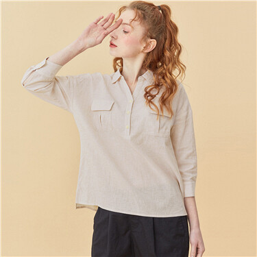 Linen-cotton v-neck three-quarter sleeves shirt