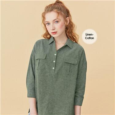 Linen-cotton v-neck three-quarter sleeves shirt